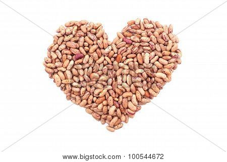 Cranberry Beans, Or Borlotti Beans In A Heart Shape