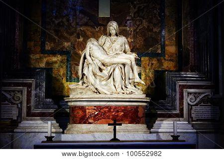 Michelangelo's Famous Pieta In St. Peter's Basilica In Vatican