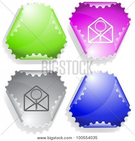 open mail with magnifying glass. Vector sticker.