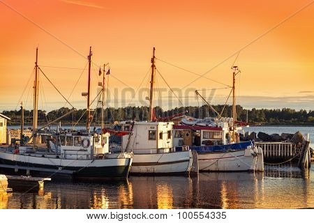 Norway Fishing Boat And Pier At Dusk