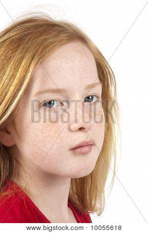 Sad Looking Redhead Girl