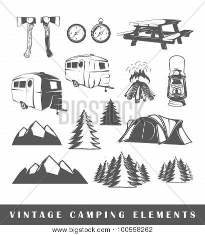 Set Camping Silhouettes