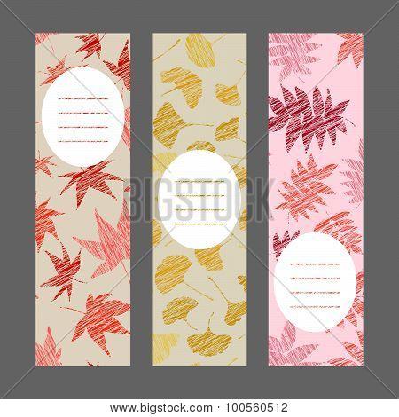 Set of vertical autumn banners. Harvest berry ornament. Vector Illustration.