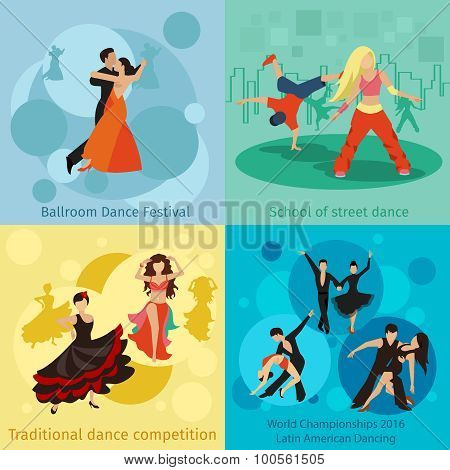 Dancing styles vector concepts set