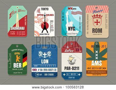 Vintage baggage or luggage vector paper tags set