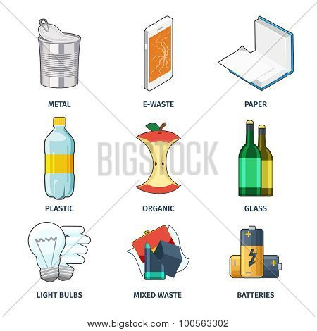 Trash categories icons vector set