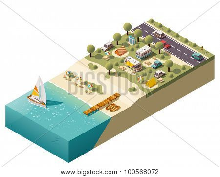 Isometric campsite near the coast