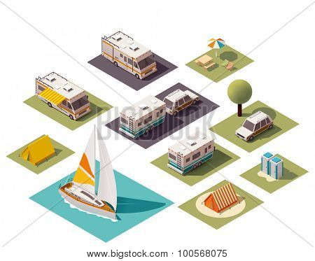 Isometric camping and travel equipment