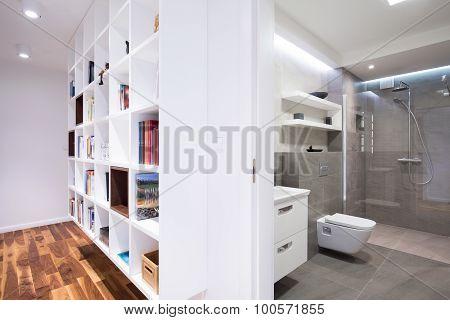 New Bookcase And Bathroom Interior