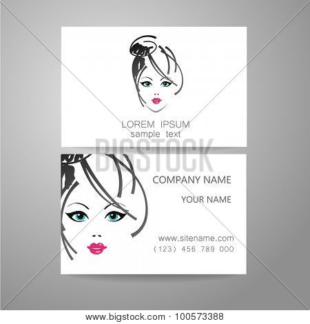 Hair salon, hairdresser - template logo. Branded business card hair stylist. poster