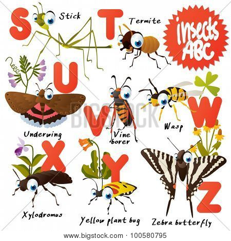 Cute vector animals ABC: Insects: stick, termite, underwing, vine borer, wasp, xylodromus, zebra butterfly