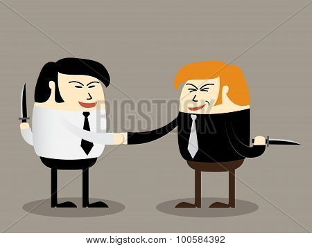 Two businessman with knife doing agreement, Blackmail concept, partner handshake poster