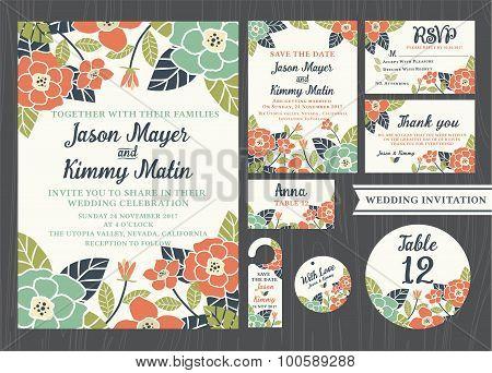Tropical Flower Wedding Invitation Vintage Design Sets