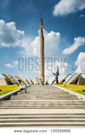 Monument Near Building Belorussian Museum Of The Great Patriotic