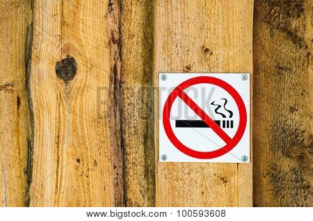 No Smoking Sign On Old Wooden Wall