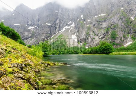 Rauma River Near Troll Wall Rocks (trollveggen), Norway