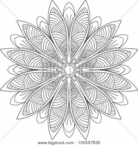 Hand Drawn Background. Mandala. Geometric Circle Element.