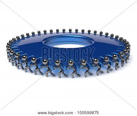 Team work gearwheel business process partnership men turning blue gear wheel hard together. Teamwork cooperation manpower community activism workforce cogwheel concept poster