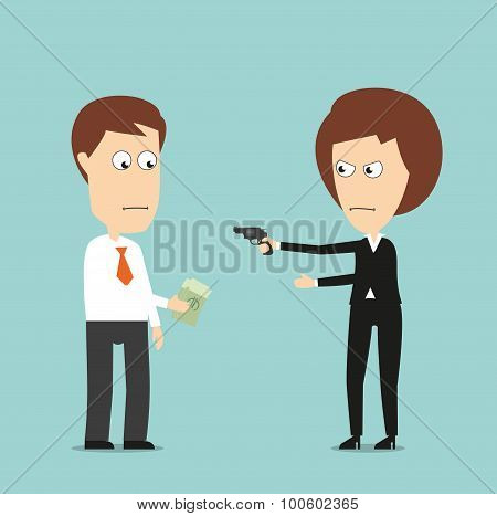 Business woman extorts money with a gun