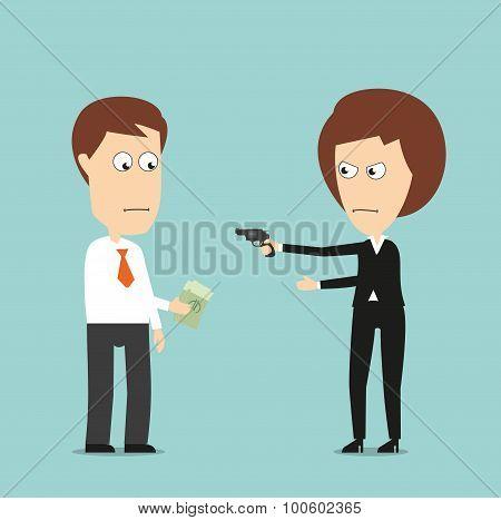 Business woman extorts money with a gun