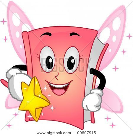 Mascot Illustration of a Book Wearing a Fairy Costume and Holding a Magic Wand