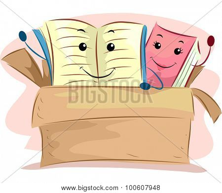 Mascot Illustration of Old Books Sitting on a Donation Box