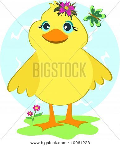 Duck with Butterfly and Flowers