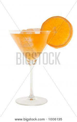 Orange Cocktail With Slice Of Orange And Ice Cubs