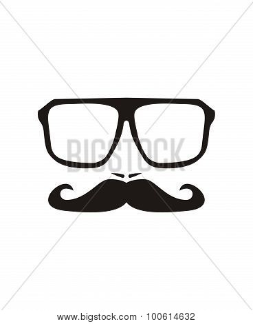 Professor vector face silhouette isolated on white background
