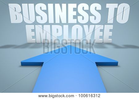 Business to Employee - 3d render concept of blue arrow pointing to text. poster