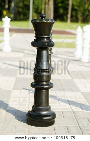 Chessman black king  is in the street on the stone chessboard