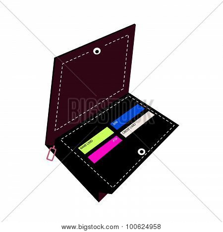 Brown Wallet With Credit Cards On White Background