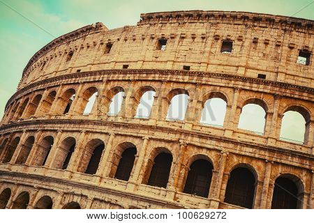 Rome, Exterior Of The Colosseum Or Coliseum