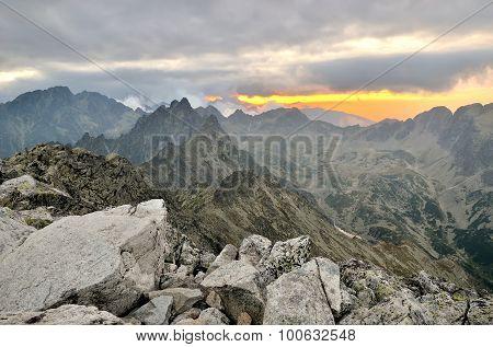 Mountain sunset landscape.