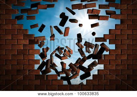 Brick wall falling down making a hole to sunny sky outside. Concept of new better world, break the stumbling block
