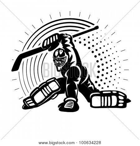 Hockey goaltender. Illustration in the engraving style