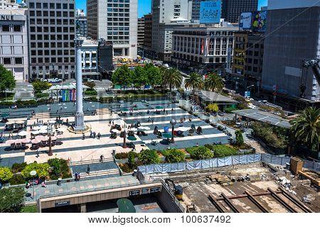 Work in progress in Union Square, San Francisco