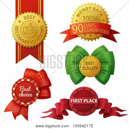Set of badges and labels isolated on white background. Vector illustration. Best choice. Money back 90 days guaranteed. Best recommendations. First place royal award.