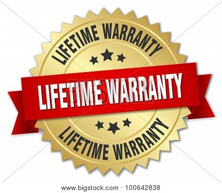lifetime warranty 3d gold badge with red ribbon poster
