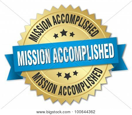 Mission Accomplished 3D Gold Badge With Blue Ribbon