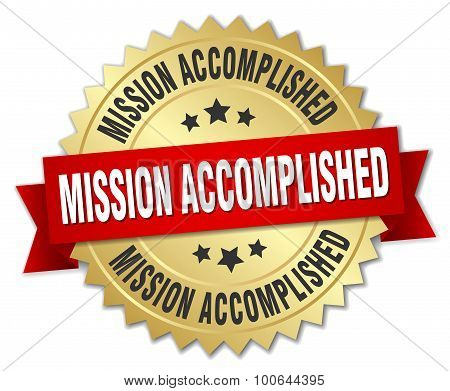 Mission Accomplished 3D Gold Badge With Red Ribbon