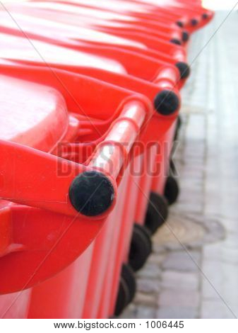 Red Plastic Rubbish Bins