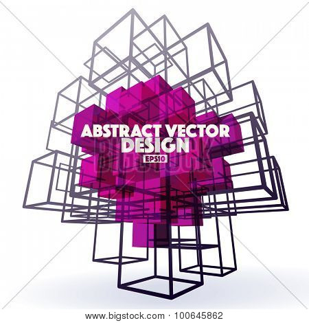 Abstract Vector Background made from cubes and lines