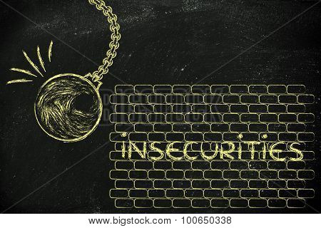 Wrecking Ball About To Destroy A Wall With The Text Insecurities