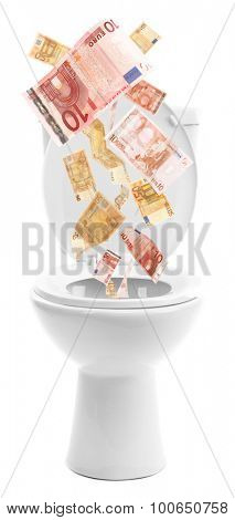 A lot of money is flushed down the toilet, isolated on white