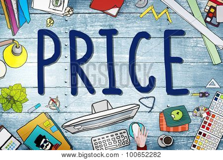 Price Cost Value Money Amount Rate Commerce Concept poster