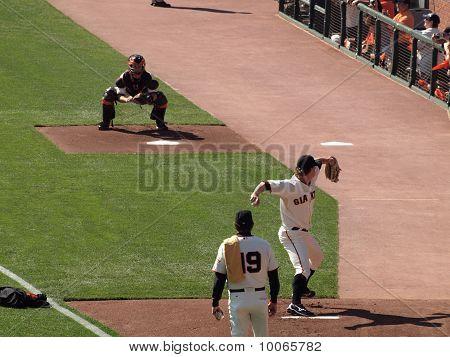 Matt Cain Steps Forward To Throw Pitch In The Bullpen