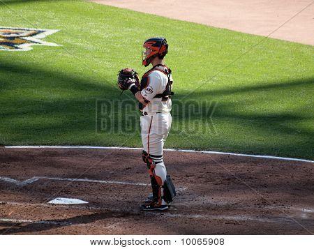 Catcher Buster Posey Stands In Catcher Gear In Between Innings