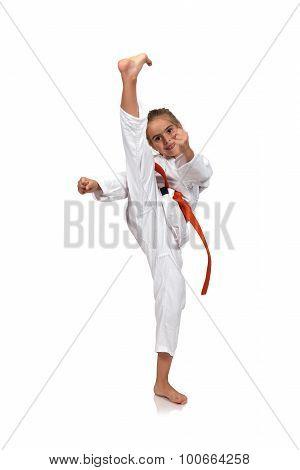 Little Girl Practice Karate