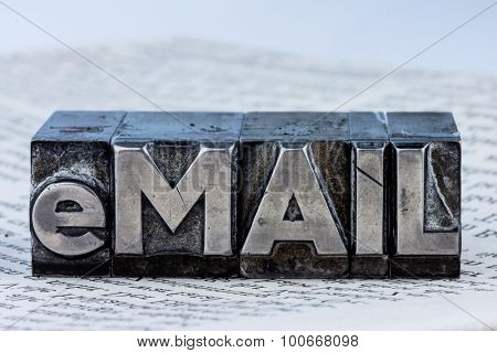 """the word """"e-mail"""" in lead letters written. symbolic photo for fast correspondence poster"""